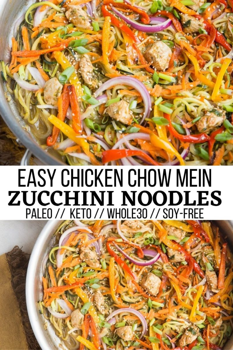 Chicken Chow Mein Zoodles - Easy Chicken Chow Mein Zoodles with veggies and zucchini noodles is a clean, light and refreshing yet comforting low-carb dinner recipe! #chicken #chowmein #zoodles #grainfree #glutenfree #healthydinner #chicken #chickenrecipe #healthyrecipes