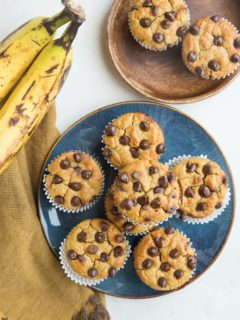 Chickpea Banana Muffins - flourless, gluten-free, refined sugar-free, dairy-free and delicious! A healthy muffin recipe made out of beans!