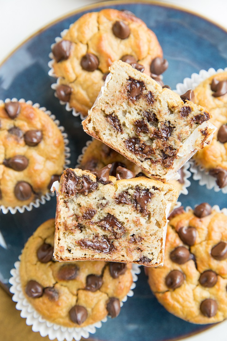 Healthy Chocolate Chip Chickpea Banana Muffins - dairy-free, refined sugar-free, and delicious!