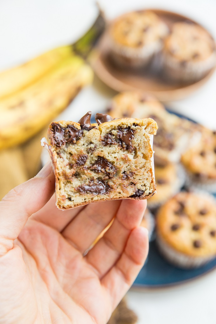 Healthy Flourless Garbanzo Bean Banana Muffins with chocolate chips. Gluten-free, dairy-free, and healthy