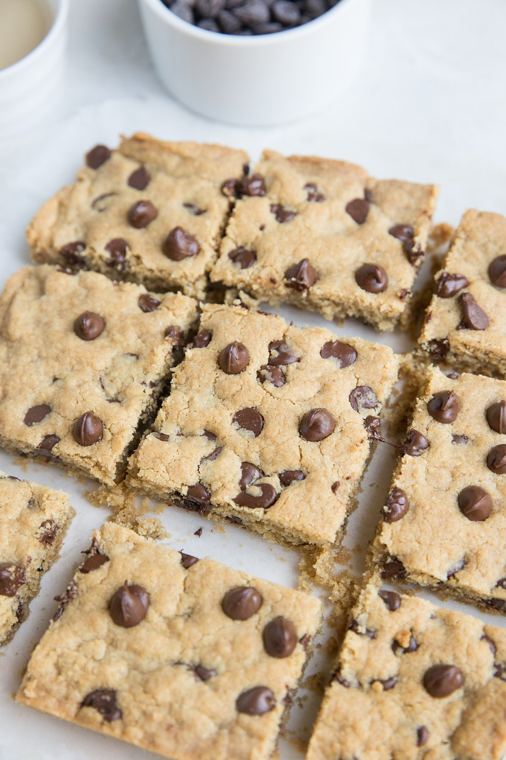 Easy Chocolate Chip Tahini Cookie Bars made flourless, grain-free, dairy-free, and refined sugar-free with only 6 ingredients!