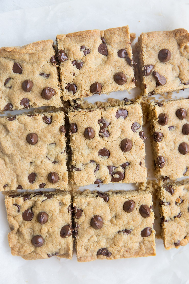 Flourless Tahini Chocolate Chip Cookie Bars - grain-free, dairy-free, refined sugar-free, paleo, and delicious!