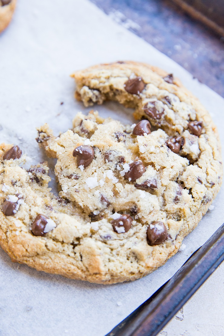Giant Chewy Keto Chocolate Chip Cookies made with almond flour and sugar-free sweetener. Incredibly chewy, gooey and delicious!