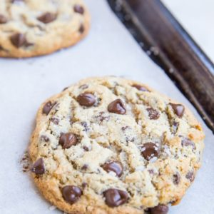 Giant Chewy Keto Chocolate Chip Cookies - jumbo cookies made sugar-free, grain-free, ultra gooey! You can't tell they aren't regular cookies!
