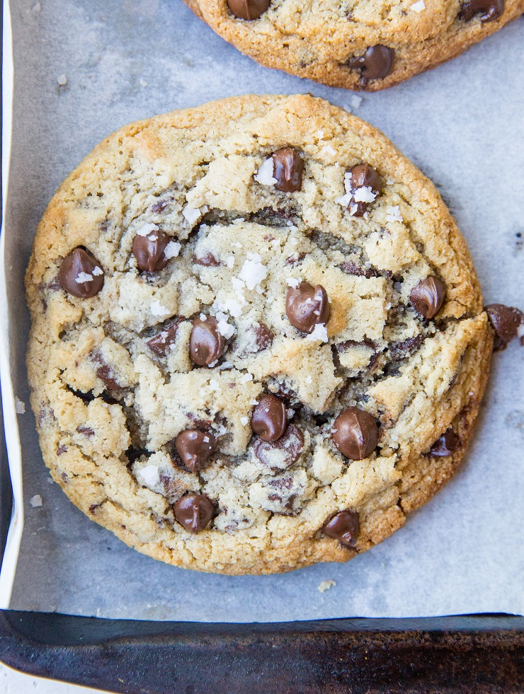 Giant Chewy Keto Chocolate Chip Cookies - jumbo sized gooey chocolate chip cookies that are grain-free, sugar-free and have the perfect outer crisp.