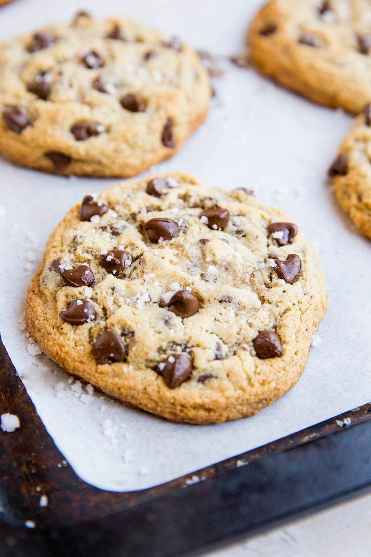 Paleo GIANT Chocolate Chip Cookies made with almond flour - grain-free, amazingly chewy, soft cookies with the perfect crisp on the outside.