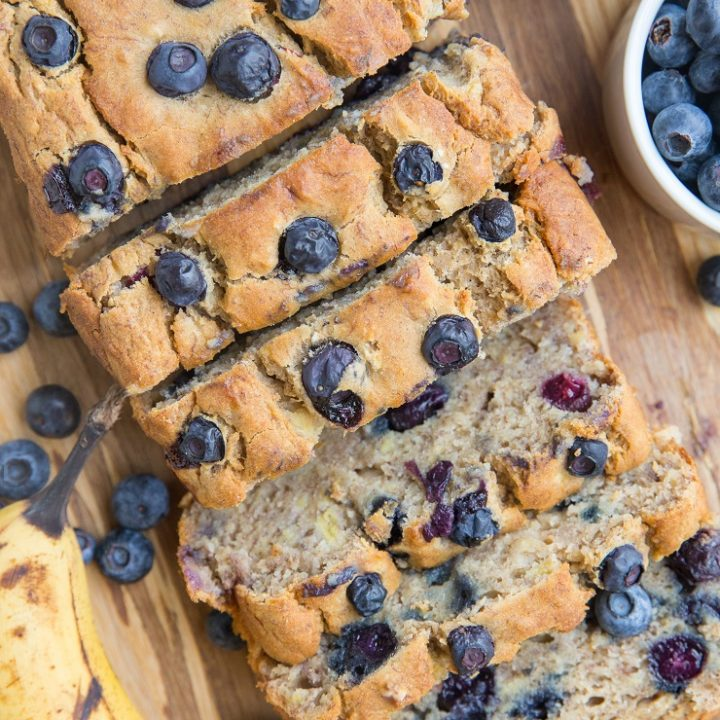 Gluten-Free Blueberry Banana Bread sweetened mostly with bananas! Refined sugar-free, dairy-free, moist, fluffy and delicious!