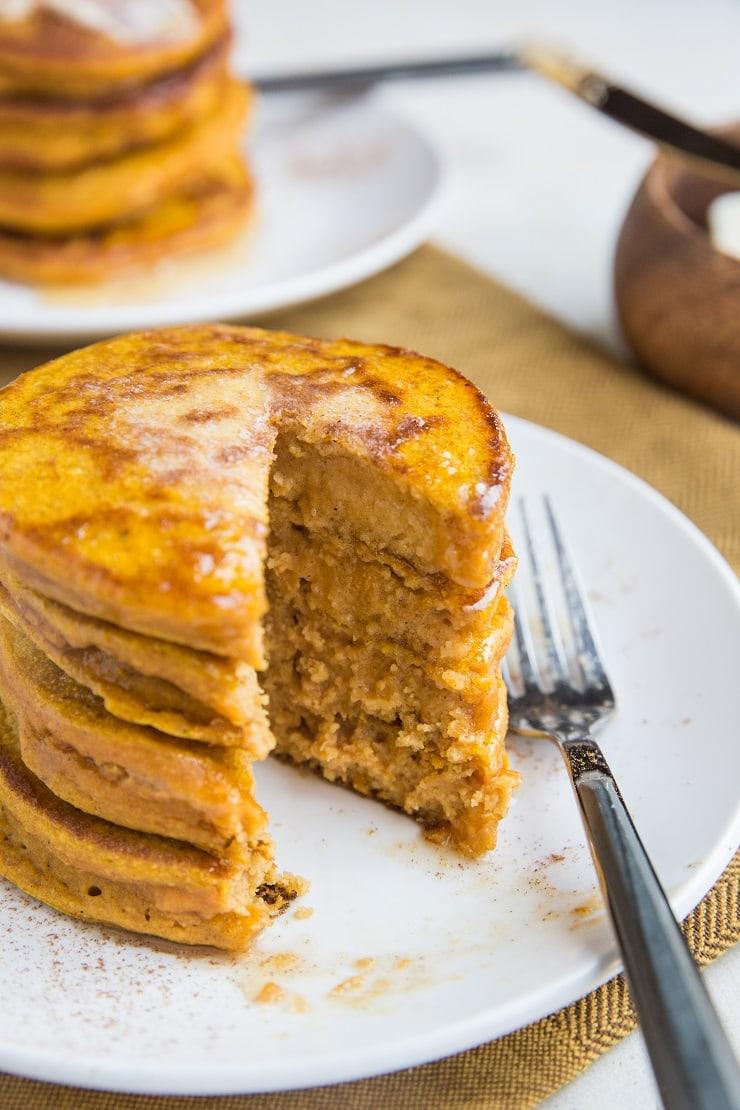 Gluten-Free Flourless Protein Pumpkin Pancakes made dairy-free, flourless, gluten-free and made with rolled oats for a healthy breakfast