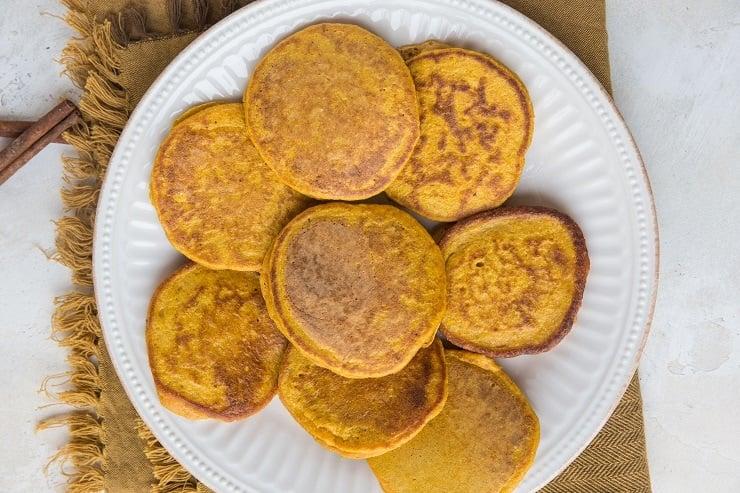 Pumpkin pancakes on a plate