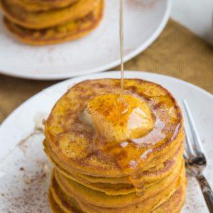 Gluten-Free Flourless Protein Pumpkin Pancakes made dairy-free. Light, fluffy, amazing fall-inspired pancake recipe