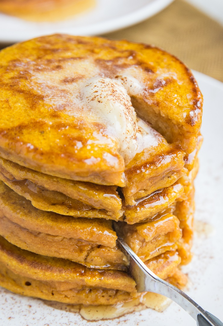 Fluffy Flourless Pumpkin Protein Pancakes made gluten-free and dairy-free. An amazing healthy pancakes recipe!
