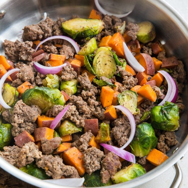 Quick and easy 30-Minute Ground Beef and Sweet Potato Skillet - only a few basic ingredients are needed to make this healthy dinner recipe.