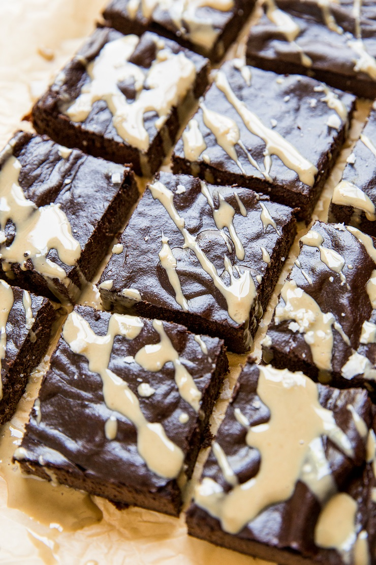 Healthy Flourless Tahini Brownies - grain-free, naturally sweetened, dairy-free, paleo, moist and fudgy super rich and sweetened with banana!