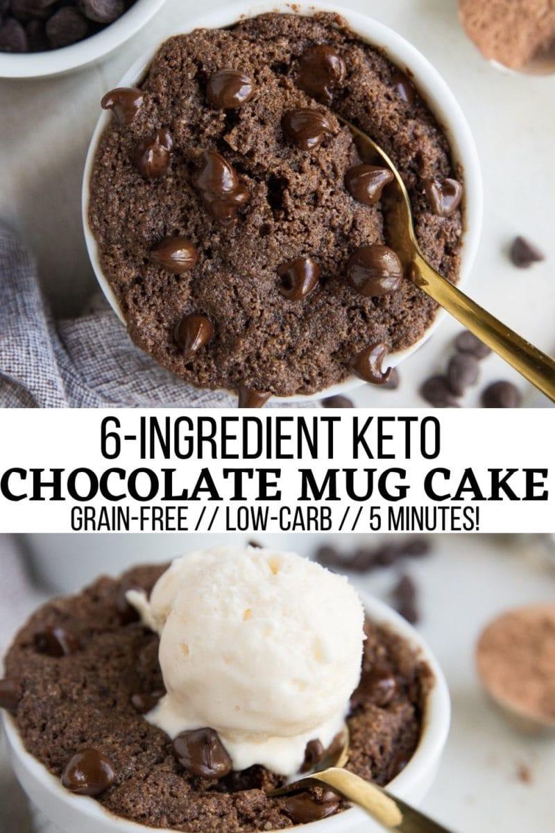 6-Ingredient Keto Chocolate Mug Cake - grain-free, sugar-free, easy and delicious single-serve dessert in a mug!