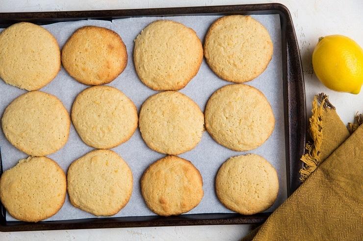 Lemon cookies on a baking sheet