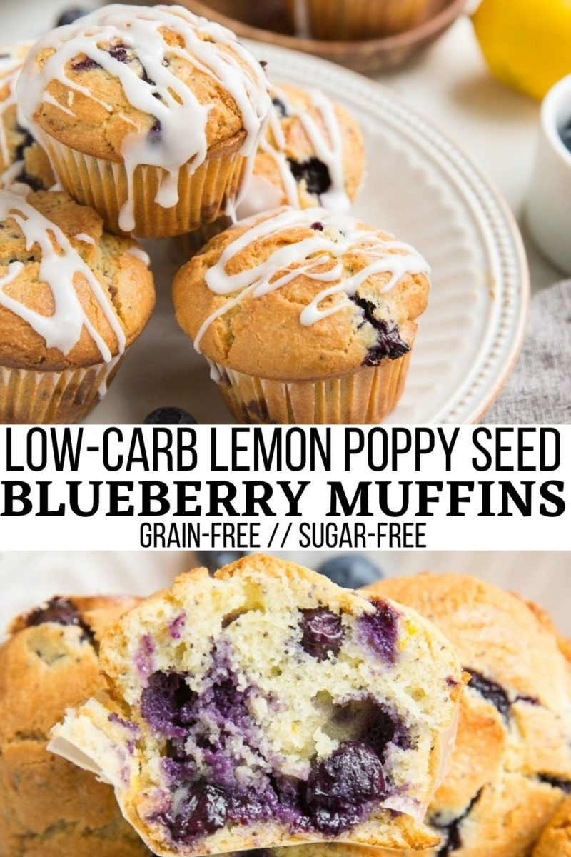 Low-Carb Lemon Poppy Seed Blueberry Muffins made grain-free, sugar-free, and keto friendly. Zesty, vibrant, refreshing, moist, fluffy and delicious!