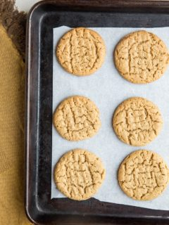 Flourless Keto Peanut Butter Cookies - only 5 ingredients, grain-free and sugar-free! Amazingly chewy and crispy.