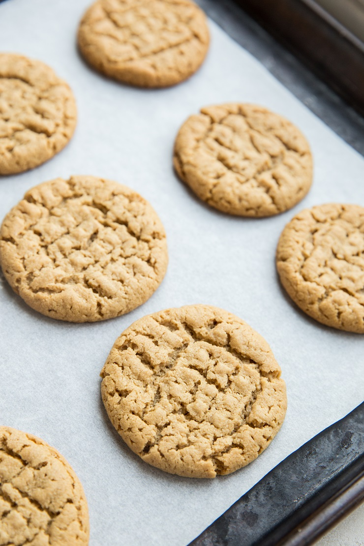Easy Keto Peanut Butter Cookies made flourless with just 5 ingredients. Grain-free, sugar-free, low-carb dessert recipe.