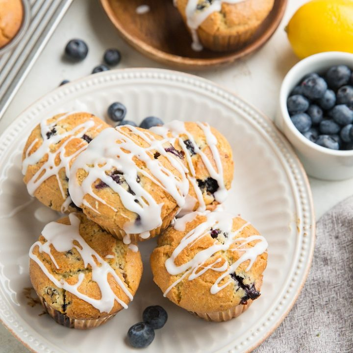 Keto Lemon Poppy Seed Blueberry Muffins with lemon glaze are an amazing breakfast or snack