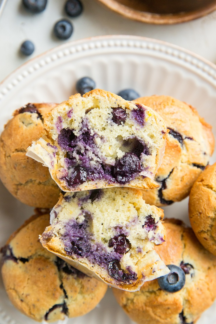 Low-Carb Lemon Poppy Seed Blueberry Muffins are incredibly moist, flavorful, zesty and fluffy! You'd never guess they're keto friendly!