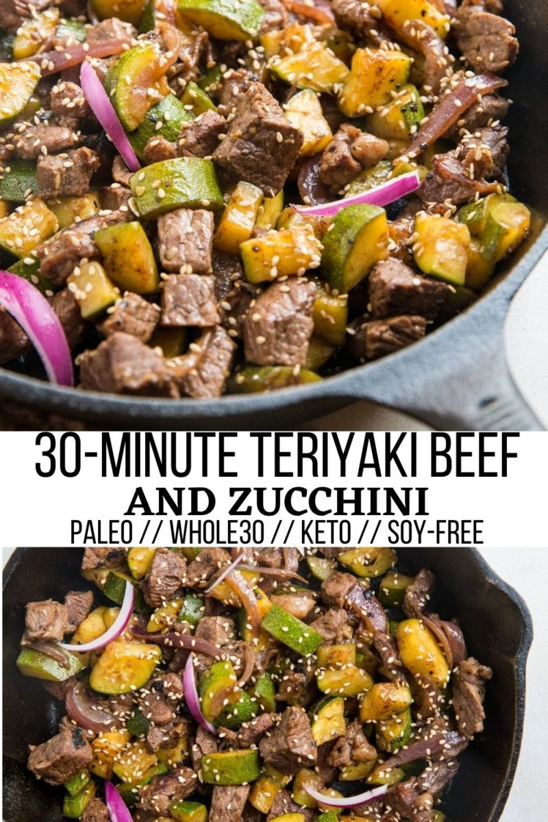 30-Minute Teriyaki Beef & Zucchini made with just 5 ingredients! This easy, healthy dinner recipe comes together quickly and is so delicious! Paleo, keto, whole30