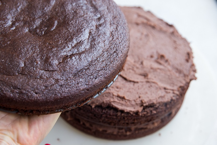 Layer up the chocolate cakes with buttercream in between
