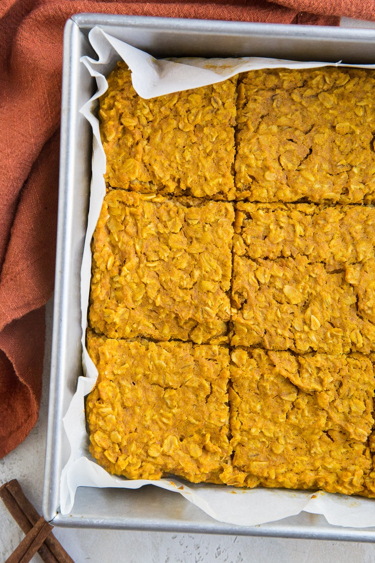 Finished Pumpkin Baked Oatmeal in a cake pan