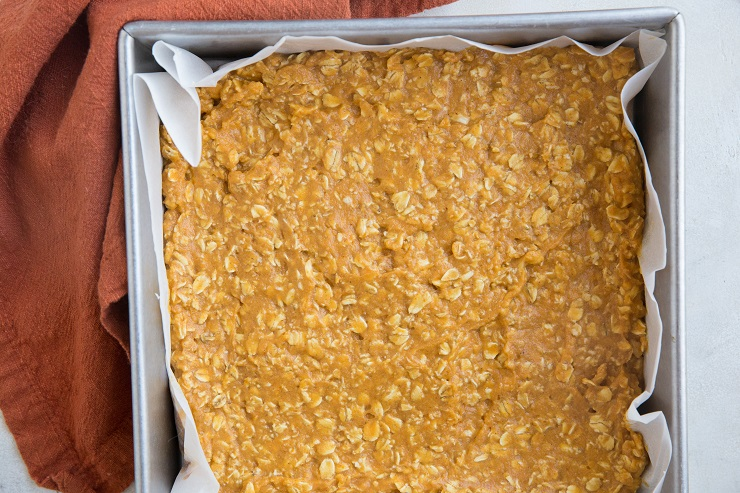 Transfer pumpkin oatmeal mixture to a parchment-lined baking pan