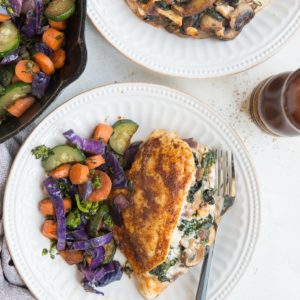 Easy Stuffed Chicken with mushrooms, spinach, onion and feta. A quick, easy healthy keto dinner recipe