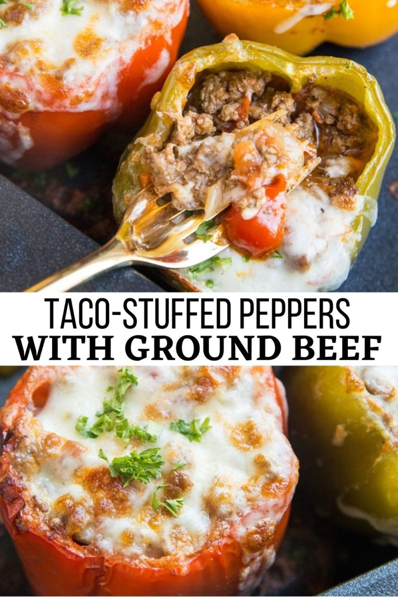 Easy Taco-Stuffed Bell Peppers with ground beef, onion, tomatoes, and cheese! Delicious low-carb dinner recipe that takes hardly any time to prepare.