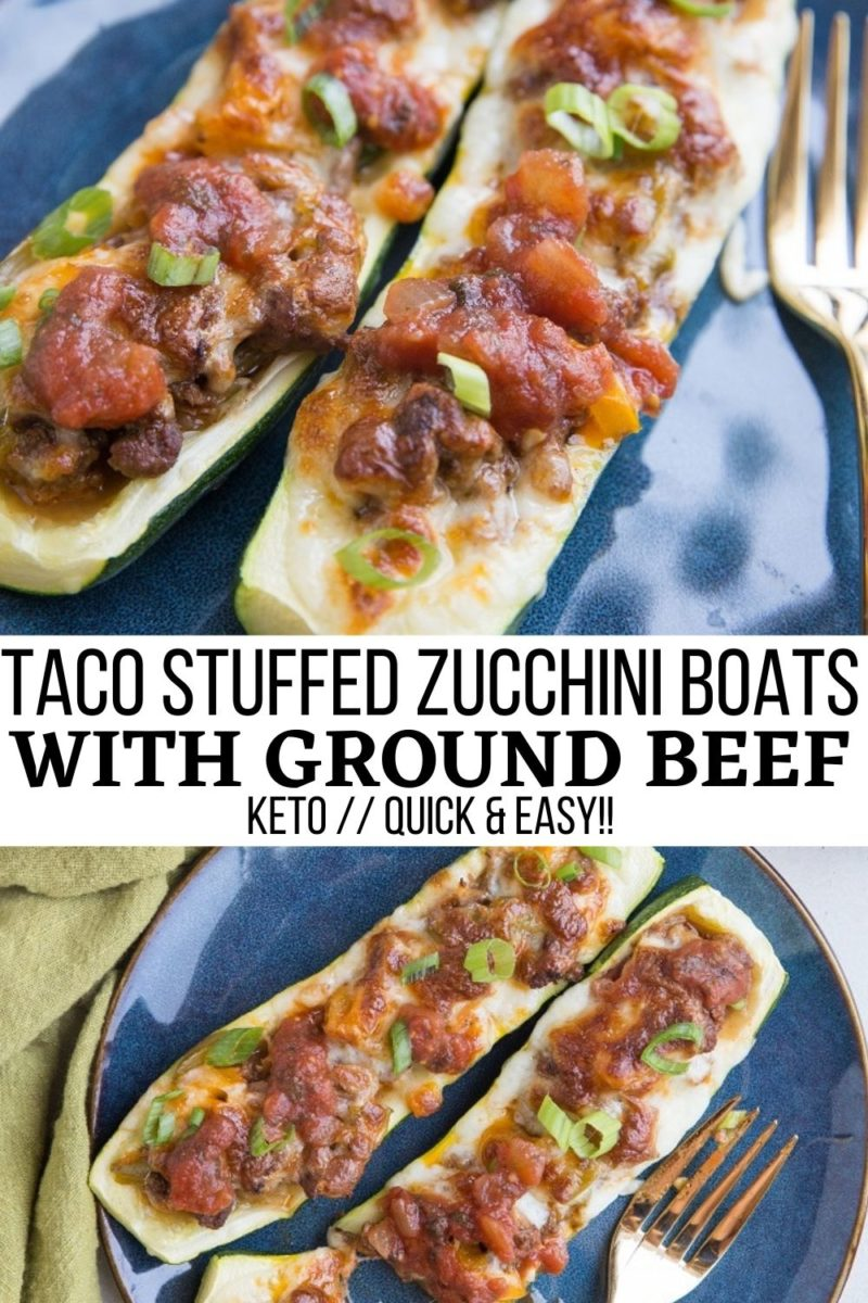 Taco Stuffed Zucchini with ground beef, onion, bell peppers, and more. Cheesy, low-carb, delicious!