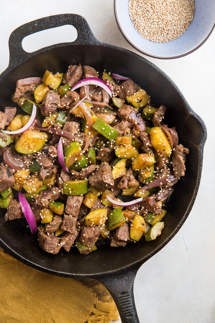 5-Ingredient 30-Minute Teriyaki Beef and Zucchini made in one skillet in 30 minutes or less! This healthy dinner recipe is loaded with flavor and so easy to make!