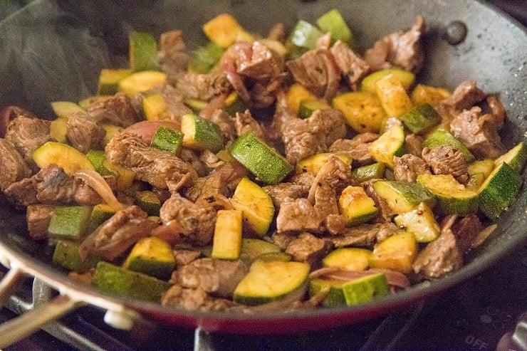 Finished teriyaki beef and zucchini