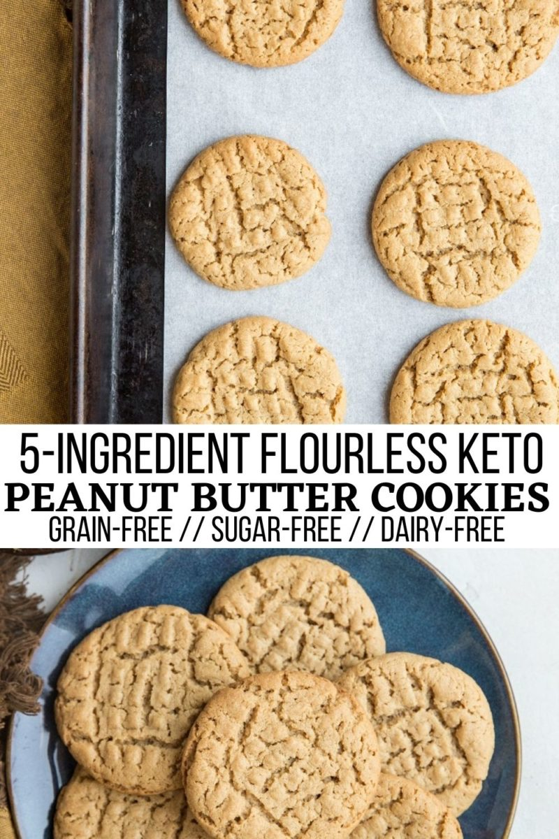 5-Ingredient Flourless Keto Peanut Butter Cookies - grain-free, dairy-free, sugar-free peanut butter cookies that are easy to make and low-carb!