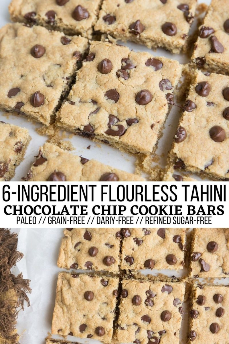 6-Ingredient Flourless TAHINI Chocolate Chip Cookie Bars - delicious cookie bars made with tahini (or your favorite nut/seed butter). Easy to make, grain-free, refined sugar-free, and dairy-free for a fun, healthier treat.