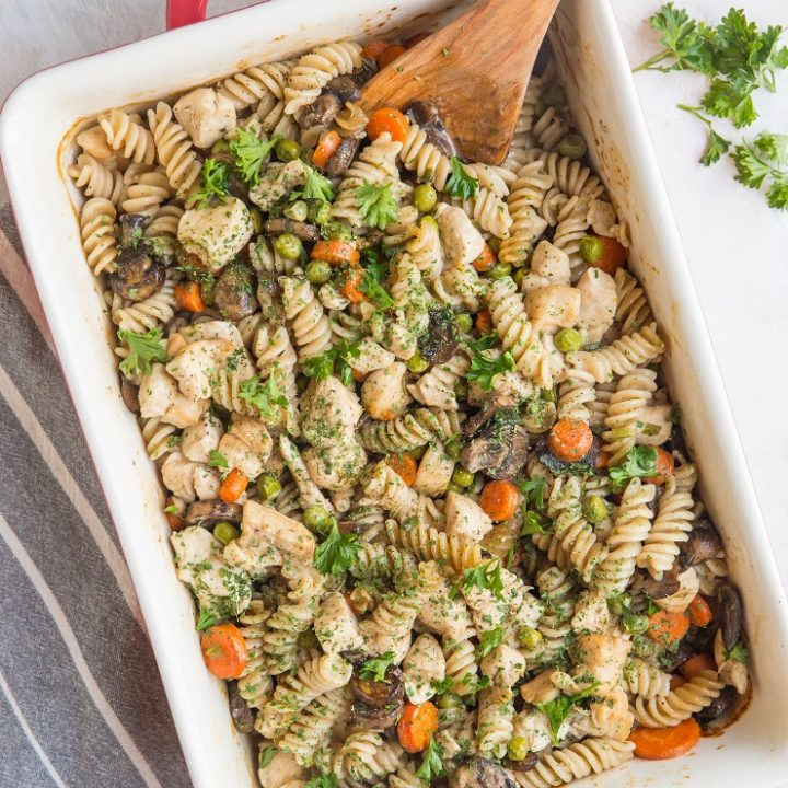 Dairy-Free Gluten-Free Creamy Chicken Noodle Casserole is a delicious, comforting, healthy dinner recipe perfect for the whole family.