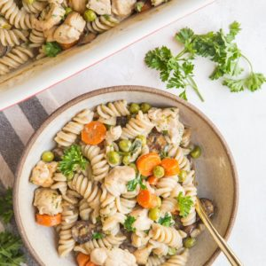 Creamy Chicken Noodle Casserole - gluten-free, dairy-free, packed with protein and complex carbohydrates for a deliciously filling and nutritious meal!