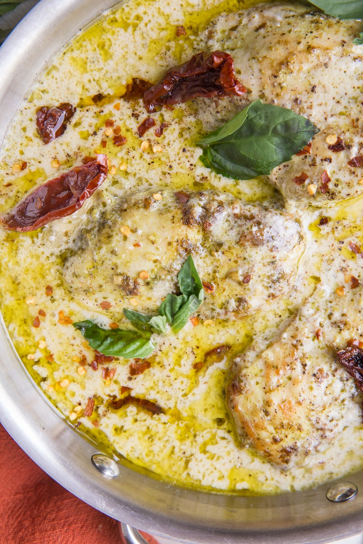 Paleo Creamy Pesto Chicken with Sun-Dried Tomatoes - an easy healthy dinner recipe that is dairy-free, gluten-free, keto, and whole30