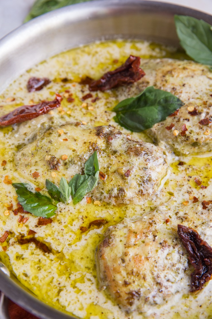 Creamy Pesto Chicken (dairy-free, Paleo, whole30, keto) - an easy and delicious creamy pesto chicken dish to keep your chicken flame burning strong! Serve it with your favorite side dishes for a healthy meal.