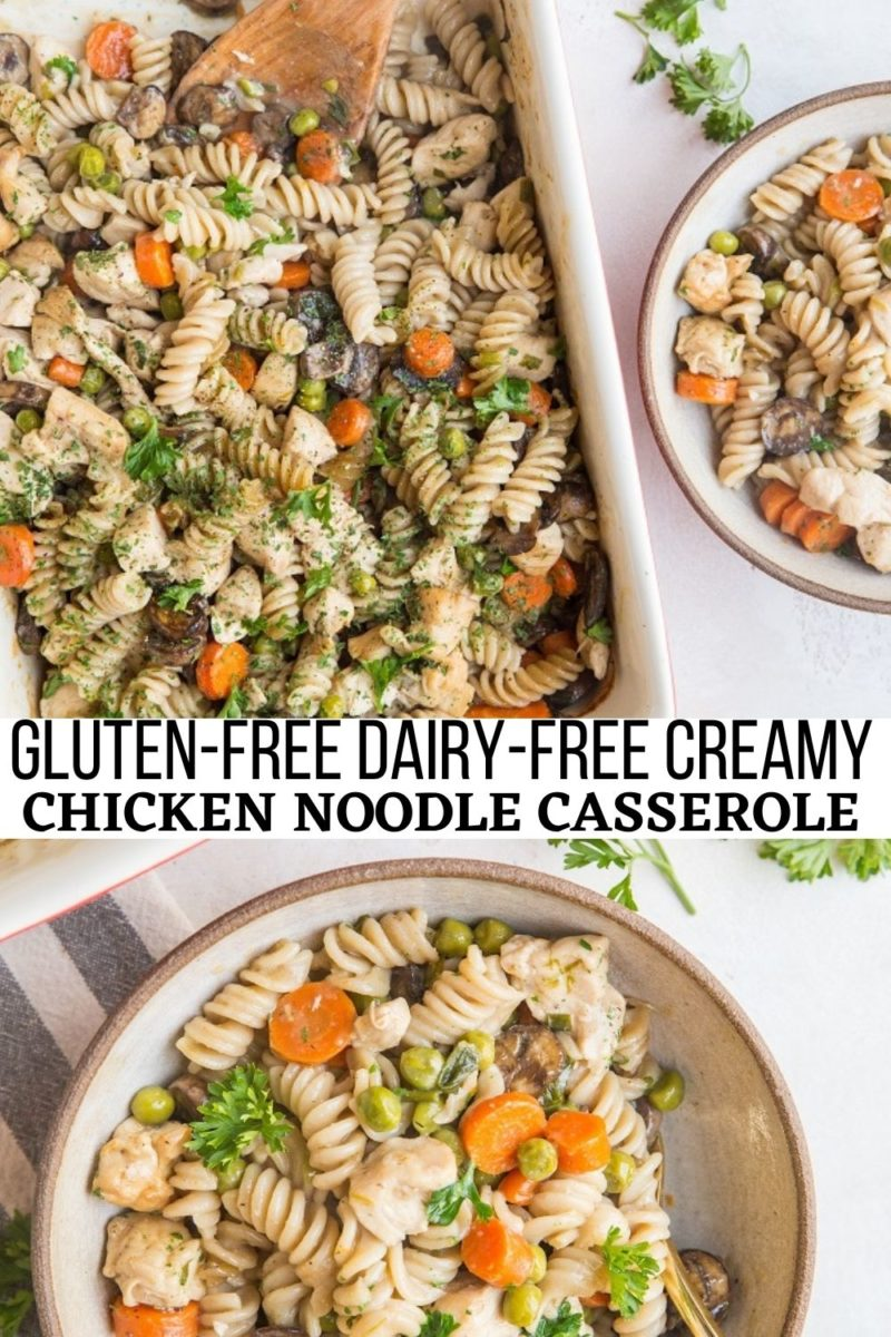 Gluten-Free Dairy-Free Creamy Chicken Noodle Casserole with luscious creamy sauce and veggies makes for a belly-filling inviting meal!