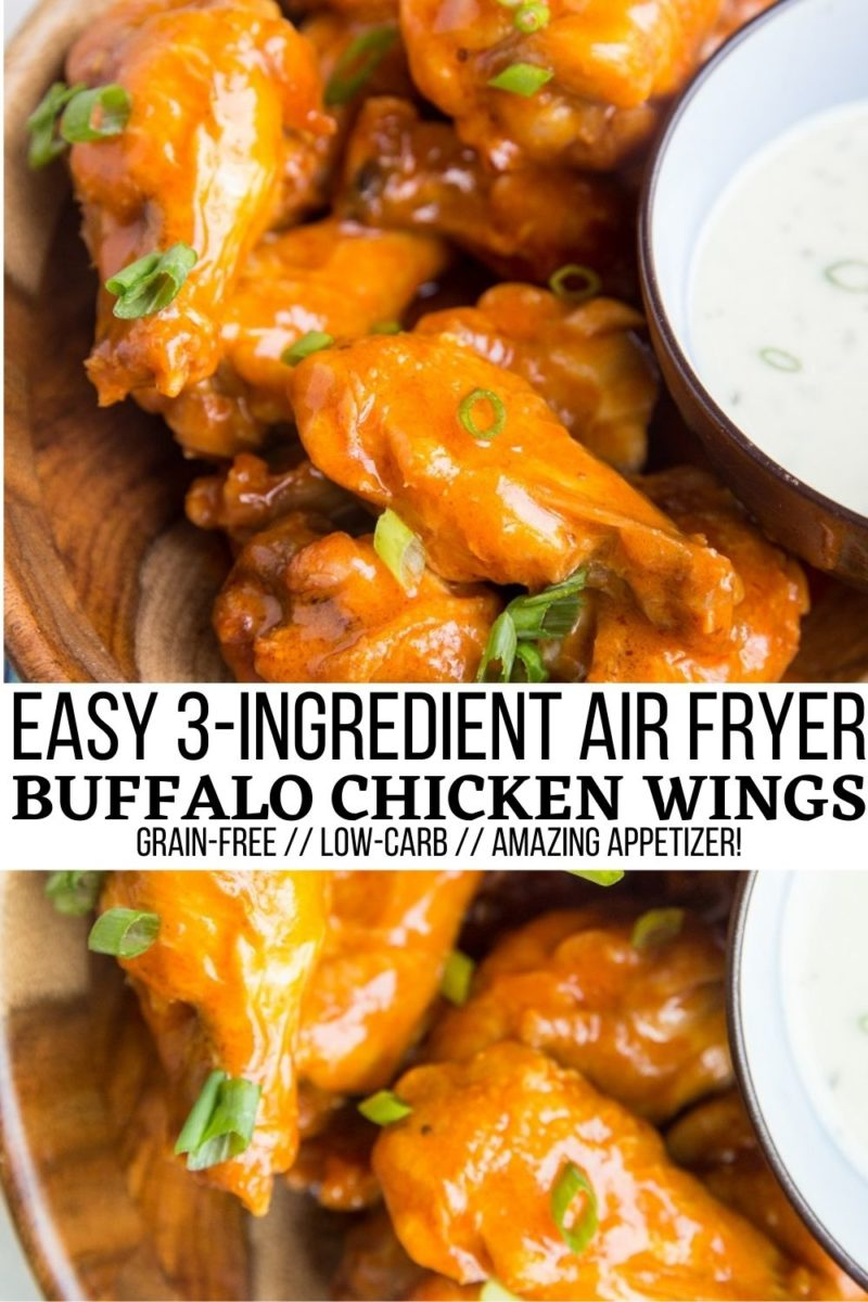 Easy 3-Ingredient Air Fryer Buffalo Wings - quick, delicious, perfectly crispy and WILDLY flavorful appetizer for any occasion!
