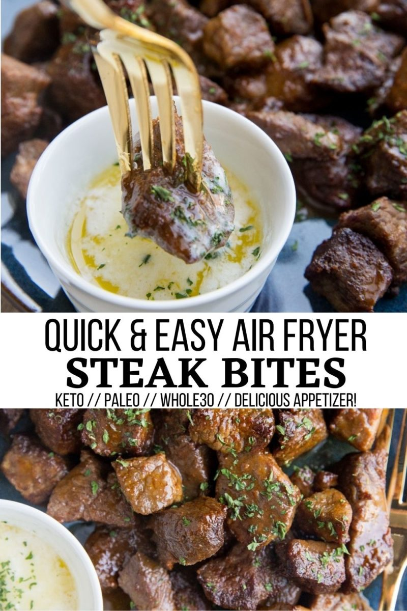 Quick and Easy Air Fryer Steak Bites are the perfect appetizer for any occasion! Paleo, keto, and whole30