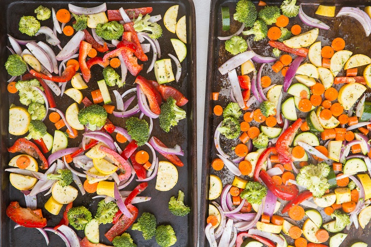 Spread vegetables over two baking sheets and bake