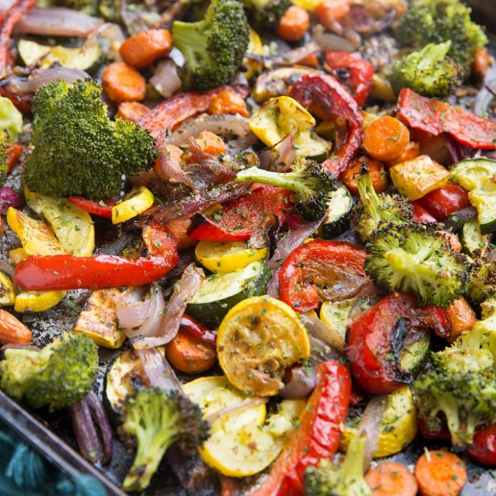 Garlic Herb Roasted Vegetables - a delicious and healthy side dish that goes well with any main entrée.