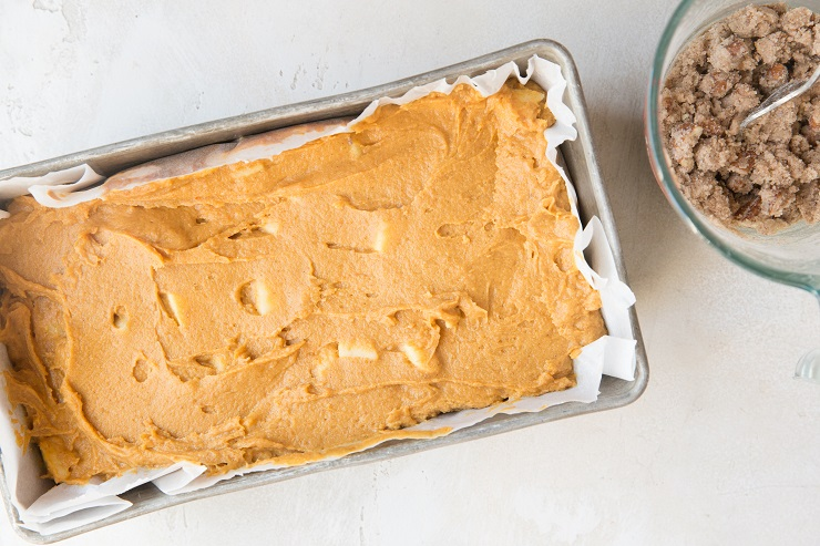 Pour the bread batter in a loaf pan