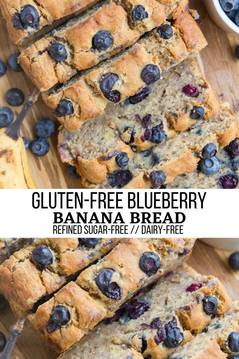 Gluten-Free Blueberry Banana Bread - moist, fluffy banana bread that is dairy-free and refined sugar-free for a healthy treat!