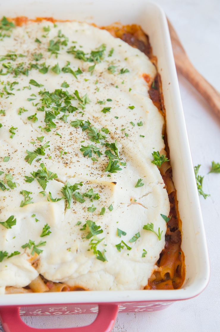 Gluten-Free Dairy-Free Baked Ziti with creamy cauliflower sauce. A healthier take on classic baked ziti