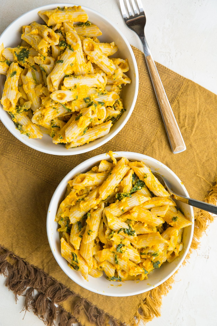 Gluten-Free Pumpkin Feta Pasta is huge on flavor yet is nice and light. A delicious fall or winter dinner recipe