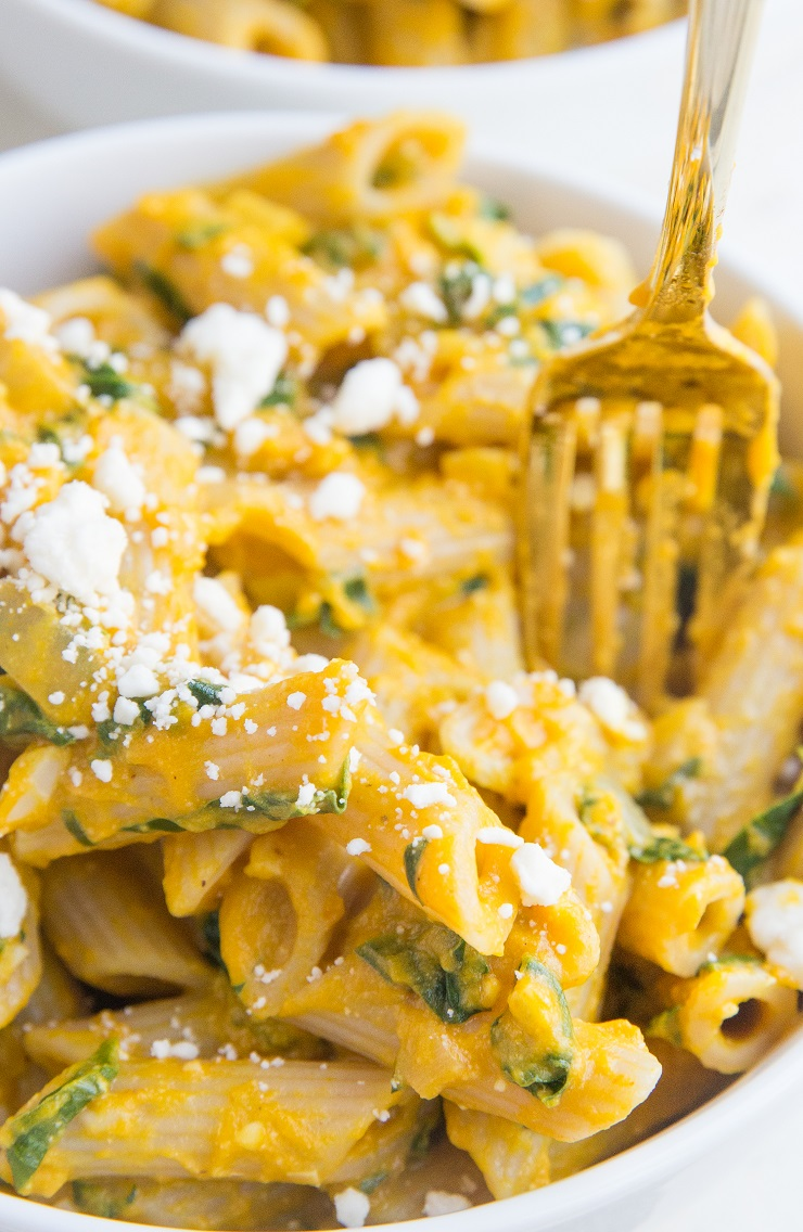 Gluten-Free Pumpkin Pasta with feta and spinach - an easy healthier pasta recipe