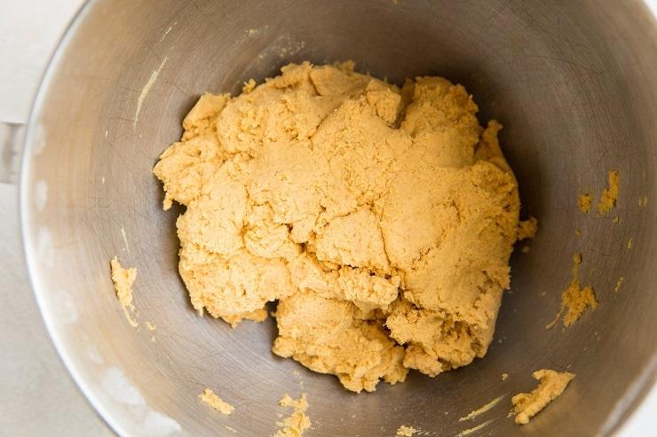 pumpkin roll dough in a stand mixer
